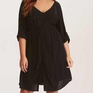 Torrid | Black Gauze Shirt Dress Button Front